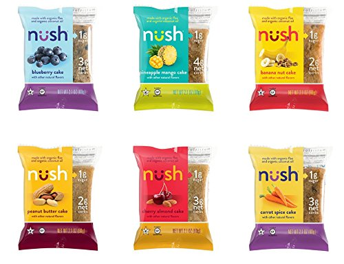 Low Carb Keto Snack Cakes Mixed-Flavor-Case, Organic, Paleo Friendly, No Added Sugar 6-Pack by Nush Foods