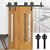 Hahaemall New Style Antique 5-16FT Bypass Barn Door Hardware Double Track Big Black Steel Wheel Hangers Sliding Heavy Duty Hardware Kit (5 FT Bypass Double Door Kit)