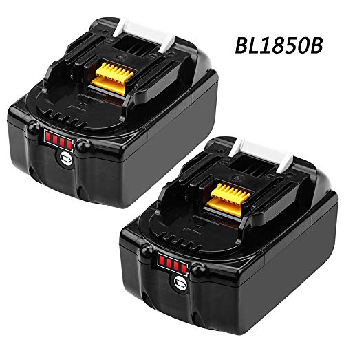 BL1850B 5000mAh Replace for Makita 18V Battery Lithium LXT BL1860 BL1850 BL1840 BL1830 BL1815 BL1845 LXT400 with LED Light Indicator Cordless Power Tools 2 Pack
