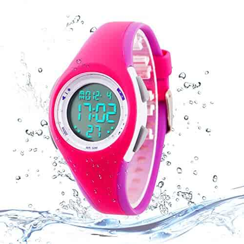 Kids Digital Sport Watch Outdoor Waterproof Watch with Alarm for Child Boy Girls Gift LED Kids Watch Rose Purple