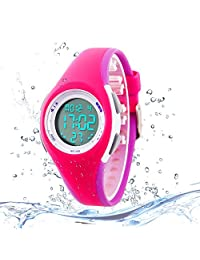 Kids Digital Sport Watch Outdoor Waterproof Watch with Alarm for Child Boy Girls Gift LED Kids Watch Rose Purple