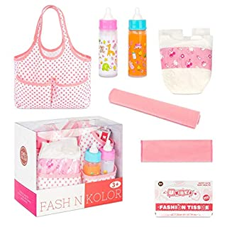 fash n kolor Diaper Bag Doll Accessories Set with Feeding Bottles, Baby Diaper, Tissues, and Cloth Blanket. Complete Diaper Bag kit with 5 Accessories. Comes Packed in a Mommy Bag