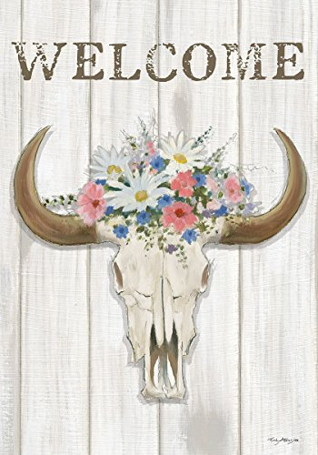 - Custom Decor Steer Floral Flags & Matching Mailbox Cover (House Flag - 28x40)