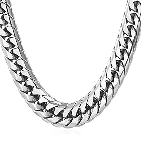 Men Stainless Steel Jewelry 12MM Wide Chunky Cuban Chain Necklace (Necklace For Men Cool)