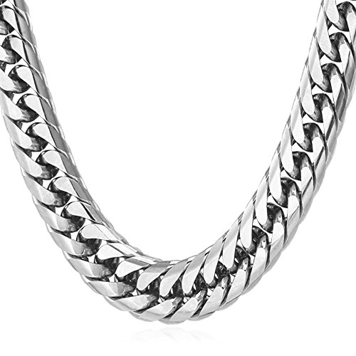 U7 American Style Men's Big Chain 12MM Wide Stainless Steel Necklace Men Punk Jewelry