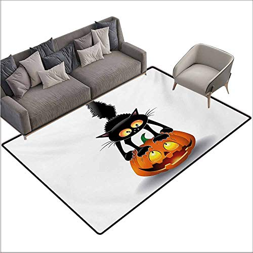 Inner Door Rug Halloween Black Cat on Pumpkin Drawing Spooky Cartoon Characters Halloween Humor Art Easy to Clean W70 xL82 Orange Black]()