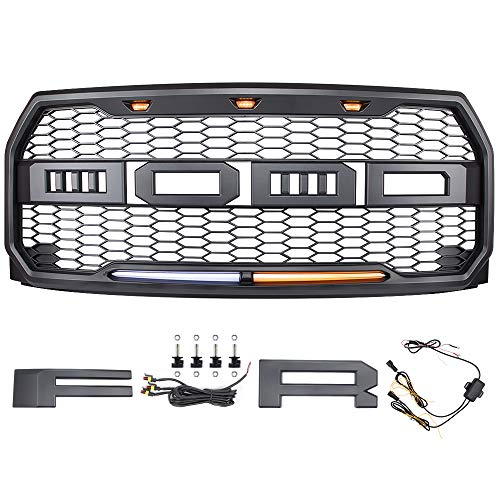 Raptor Grille For 15 17 Ford F150 Raptor Replacement Grille Light Kit Raptor Style Grill Conversion Mesh Grill Front Bumper Grille
