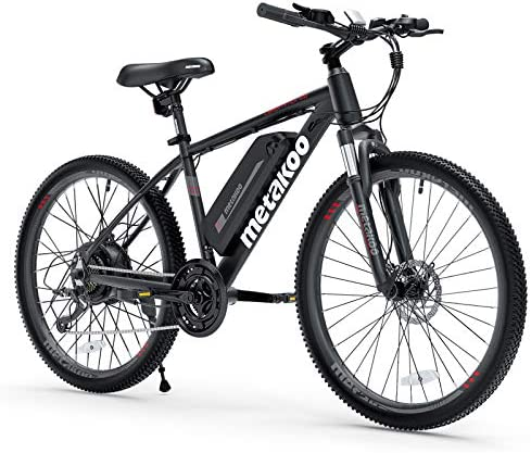 """METAKOO Electric Bike Cybertrack 100, 26"""" Mountain Electric Bike, BAFANG 350W Brushless Motor, 3 Hours Fast Charge 36V/10.4Ah Removable Lithium Battery, Shimano 21-Speed, Suspension Fork"""