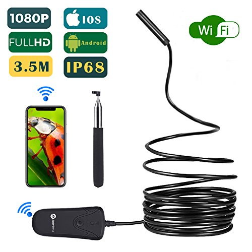 Wireless Endoscope, Slopehill Wifi Borescope Inspection Camera 1080P HD 2MP | Semi-rigid Snake with Telescopic Rod | IP68 Waterproof 8 Leds | for Android and IOS iPhone, Smartphone, Tablet, PC - 11.5F ()