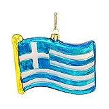 Glass Greece National Flag Blue White Gr