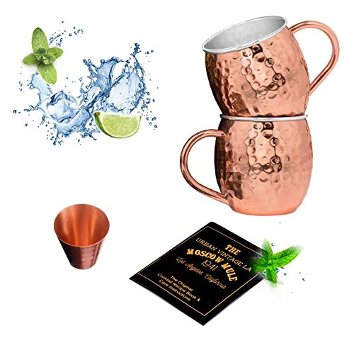 Set of 2 Moscow Mule Copper Mugs with Stainless-Steel Lining | Set of 2 Moscow Mule Mugs with Copper Shot Glass | Set of 2 Mule Mugs Lined with Stainless-Steel, Mint Julep Mugs for Home Bar by Urban Vintage LA (Image #9)