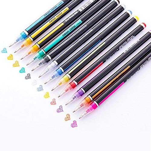 Gijoki Students Durable Portable Smooth Long Lasting Glitter Gel Pen Set Writing Tool Gel Ink Rollerball Pens(48 Pcs)