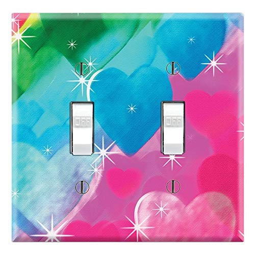 (Graphics Wallplates - Tye Dye Hearts - Dual Toggle Wall Plate)