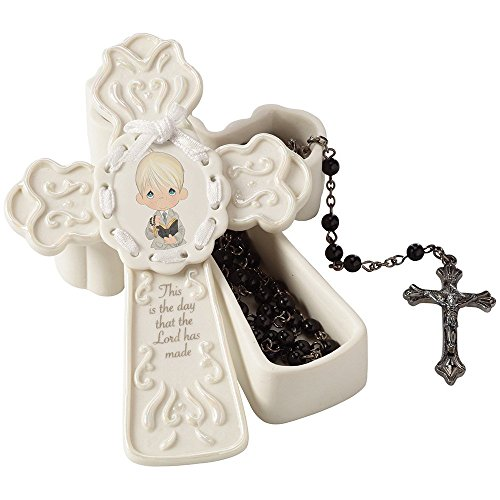 Precious Moments,  This Is The Day The Lord Has Made Bisque Porcelain Box With Black Faux Pearl Rosary, For Boy, 153405 -