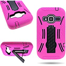 CoverON Hybrid Dual Layer Kickstand Case for ZTE Concord II - with Cover Removal Pry Tool - Hot Pink Soft Silicone + Black Hard Plastic