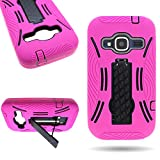 zte concord ii phone cases - CoverON Hybrid Dual Layer Kickstand Case for ZTE Concord II - with Cover Removal Pry Tool - Hot Pink Soft Silicone + Black Hard Plastic