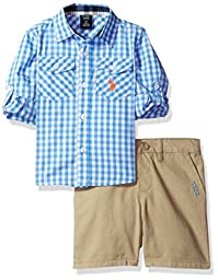 U.S. Polo Assn. Little Boys\' Long Sleeve Gingham Check Woven Shirt and Twill Short, Plaid, 4T