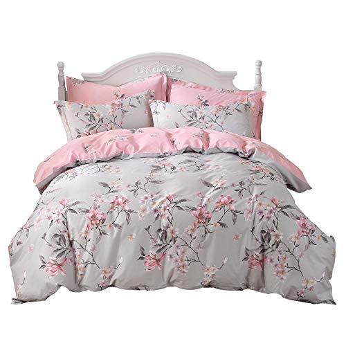 FADFAY Shabby Pink and Grey Vintage Magnolia 100% Cotton Duvet Cover Set Hypoallergenic with Hidden Zipper Closure, King/California King Size 3-Pieces