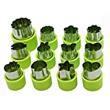 Cofe-BY Vegetable Cutters Shapes Set 12pcs, Mini Flower Star Cartoon Shaped Decorating Tools Mould Fruit Cookie Cutter for kids food (Big & Small) Mini Cookie Cutters
