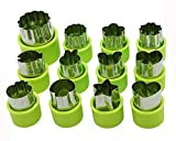 Cofe-BY Veggies Cutter Shapes Set 12Pcs, Mini Flowers Shaped Fruit Cutters for Kids Food, Small Animals Shaped Vegetable Cookie Mold for Bento Box, Fondant Cake Decorative Shapes Kits