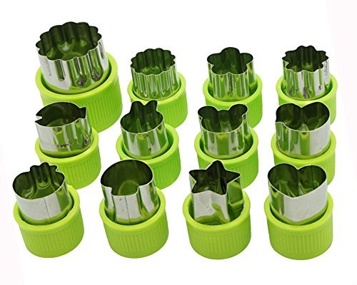 (Cofe-BY Vegetable Cutter Shapes Set, Mini Pie, Fruit and Veggies Stamps Mold, Cookie Cutter Fondant Decorative Shapes, Making Fun Shapes for Kids Bento Box, Green, 12Pcs)