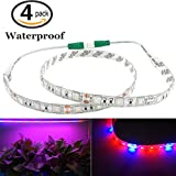 [Pack of 4] Bonlux Waterproof 0.6m/strip 5w Led Grow Strip Flexiable LED Plant Strip Light Bar Full Spectrum Dc12v Red Blue 3:1 Waterproof Grow Strip Light for Indoor Garden Greenhouse Flowering Plant Hydroponics System (4, Grow Strip Light)