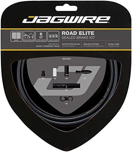 Jagwire Road Elite Sealed Brake Cable Kit SRAM/Shimano with Ultra-Slick Uncoated Cables, Stealth Black