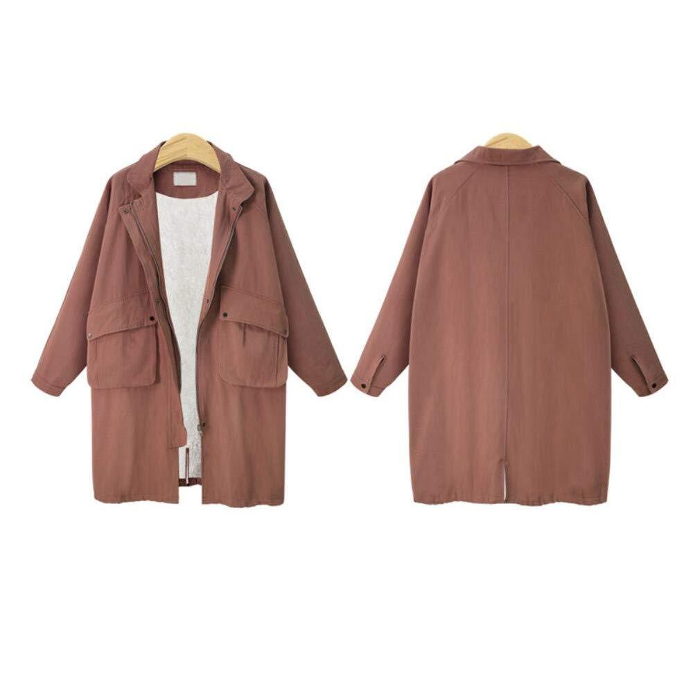 SUIFENG@ Frauen Trenchcoat Herbst und Winter Frauen Große Größe Lose Langen Absatz Lammfell Langärmeligen Mantel Baumwollmantel