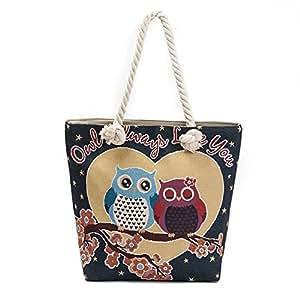 Eleoption - Bolso al hombro para mujer negro Owl Lovers 2 A4