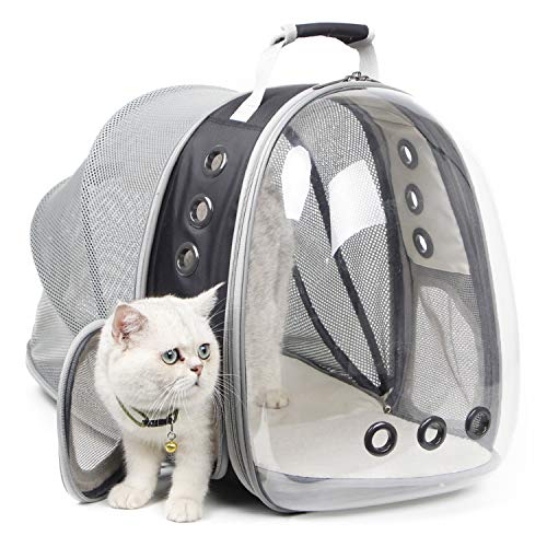 Hcupet Cat Carrying Backpack, Expandable Space Capsule Clear Pet Backpack for Small Dog, Clear Expandable Transparency Waterproof Cat Holding Backpack (Black) ()
