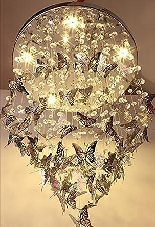 Cheerhuzz New Modern Chrome Butterfly Crystal Chandelier Pendant ...