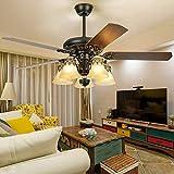 RainierLight Ceiling Fan 5 Glass Cover 5 Wood Reversible Blades Remote Control 3 Speed Chandelier Lighting Fixture 52-Inch/Quiet