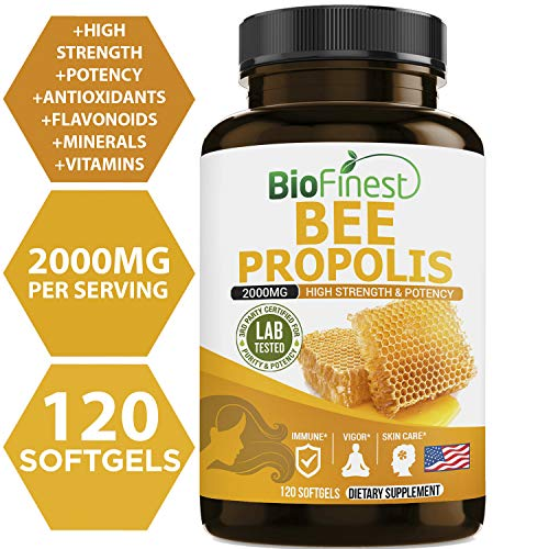 Biofinest Bee Propolis (Bee Glue) 2000mg - Organic Pure Gluten-Free Non-GMO Kosher - Made in USA - Natural Antioxidant Supplement For Healthy Immune System, Sorethroat Relief, Skin Care (120 softgels)