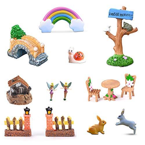 Ren Handcraft 10 Pcs Miniature Fairy Garden Kit Accessories- Garden Planters, Animals, Mini Fairy Furniture, House, Home Figurines for Girls