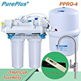 Easy Installation PurePlus 4-Stage Ultra Safe Reverse Osmosis Drinking Water Filter System,RO SYSTEM RO-4 80 GPD,Auto Leaking Stop,Extra 1 Full Sets Of 4 Filters And 1 TDS Meter