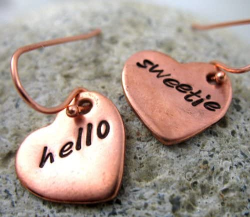 Hello Sweetie Copper Heart Earrings Doctor Who Inspired Hand Stamped