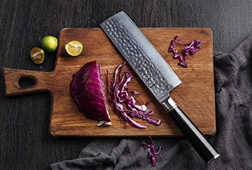 HEZHEN 5-Piece Damascus Kitchen Knife Set, Chef Knife Nakiri Santoku and Utility Knife Hammered Forging 67 Layer Japanese Damascus Steel Professional Chef's Kitchen Knife Ebony Handle - Classic Series by HEZHEN (Image #7)