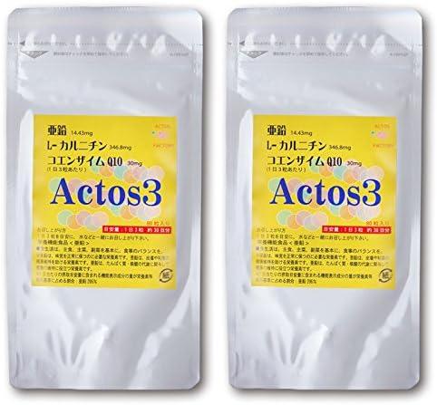 妊活 男性 サプリ アクトス3 亜鉛 L-カルニチン コエンザイムQ10 90粒30日分 2個セット