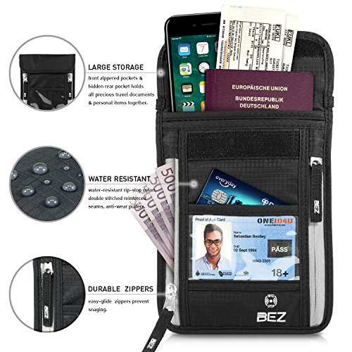 Brustbeutel mit RFID-Blocker, Versteckte Nackentasche mit mehreren Abteilen für Reisepässe, Mobiltelefone, Kreditkarten und Bargeld [ Leichte Brustbeutel Tasche ]