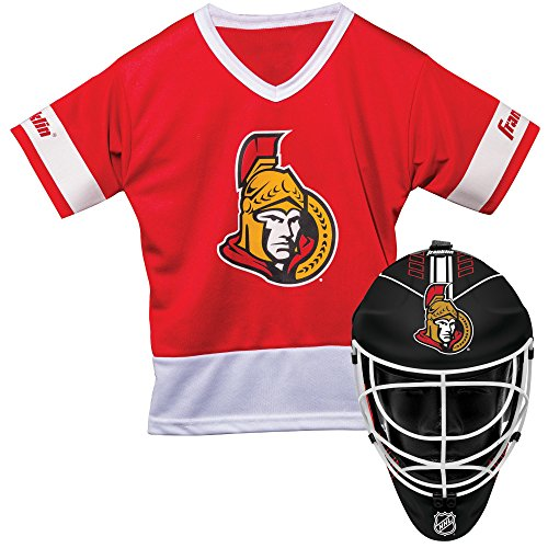 Franklin Sports Ottawa Senators Kid's Hockey Costume Set - Youth Jersey & Goalie Mask - Halloween Fan Outfit - NHL Official Licensed - Senators Ottawa Uniform