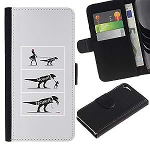 EJOY---Tirón de la caja Cartera de cuero con ranuras para tarjetas / Apple Iphone 5 / 5S / --COMIC dinosaurio divertido