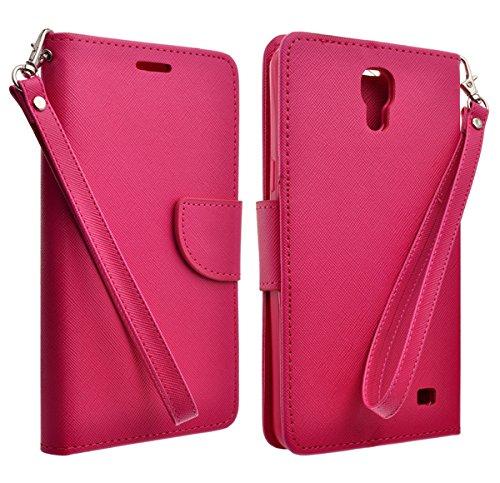 AT&T Samsung Galaxy Mega 2 Case - PU Leather Wallet Cover With 2 Credit Card Slot (HOT PINK - Cases Samsung Mega Galaxy Att
