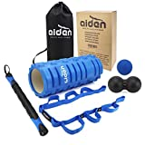 Aiden's Massage Roller Set - Includes Foam Roller, Muscle Roller stick, Peanut Roller, Massage ball, Stretch Band + Yoga Roller Carry Bag - Deep Tissue Massage and Trigger Point Therapy Accessory Set
