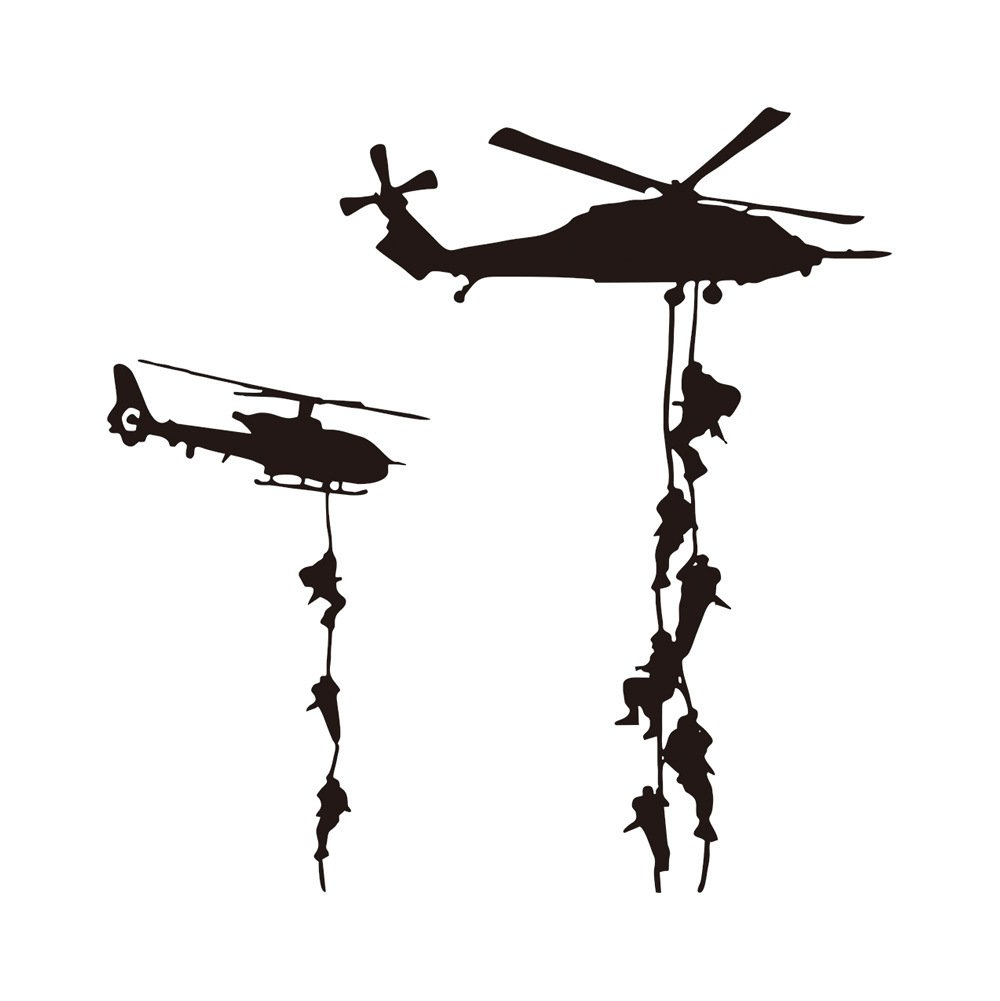 Cool Helicopter Army War Soldier Wall Stickers Vinyl Art Decals Vinyl Quote DIY for Kids Teens Boys Guy Men Marines Military Families Fans Bedroom Playroom Living Room Home Decor Wall Quote 22x22""