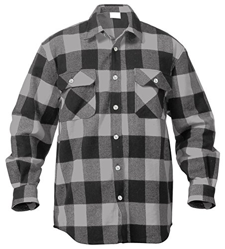 Rothco Extra Heavyweight Buffalo Flannel Shirts, Grey Plaid, XX-Large (Wool Field Shirt Military)