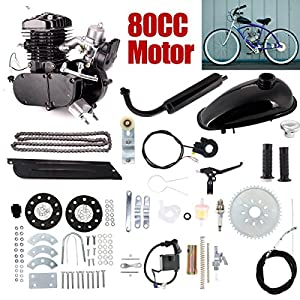 3. ZHUOTOP 80cc 2-Stroke Bicycle Motorized Bicycle Gasoline Engine Motor Kit DIY Motorized Bike Petrol Gas Motor Engine Kit Set Black