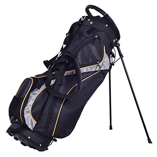 TANGKULA Golf Bag 7 Way Divider Light Weight Portable Golf Cart Bag Waterproof Wear-Resistant Durable Fabric Easy Carry Space Saving Womens Mens Golf Stand Bag, Black
