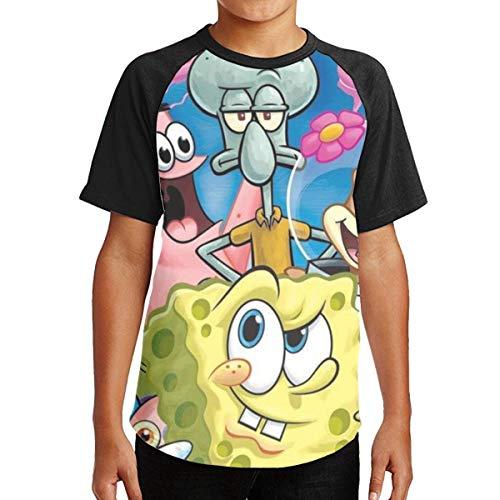 ZTKJ Spongebob Patrick and Friends Cool Digital Printing T-Shirt for Teenboys M Black