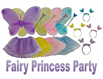 Fairy Princess Party Supplies - Dress Up Costume 4 Piece Set – Includes Purple, Blue, Yellow, Pink Fairy Garden Wings, With Matching Tutu, Crown Tiara, Magic Wand (Set Of 4)