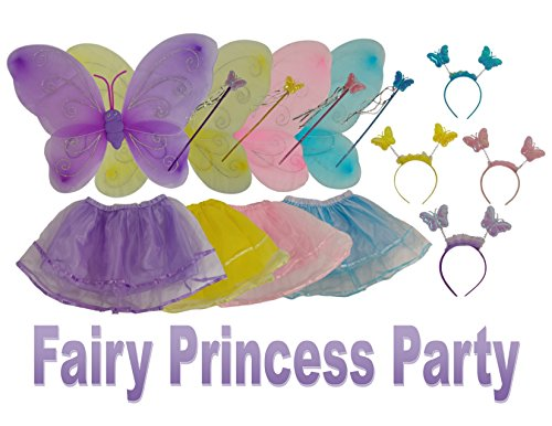 Fairy Princess Party Dresses 4 Colors Includes Wings, Tutu, Tiara, Magic (Fairy Tale Themed Halloween Party)